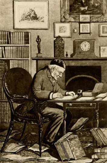 Pusey at his desk